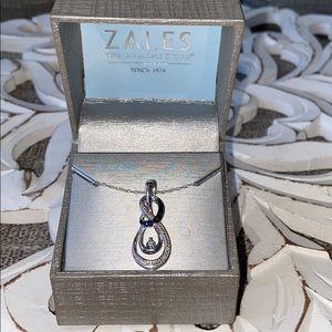Zales 925 Sterling Silver Diamond Necklace NEW